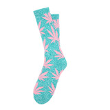 Plantlife crew socks hol14 // teal heather / pink