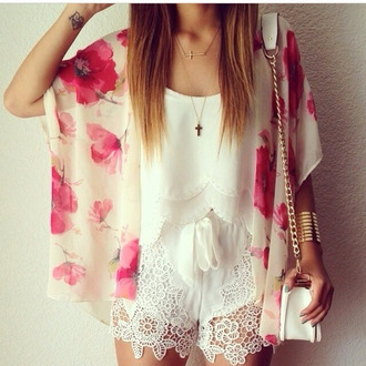 weekend escape pink flowers pink flowers floral layered floral kimono kimono white top cuff bracelet gold bracelet shoulder bag chain bag lace shorts white shorts cross white