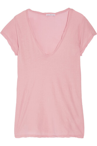 t-shirt shirt high cotton baby pink baby pink top