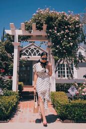 hallie daily,blogger,top,skirt,bag,hat,jewels,polka dots,polka dots dress,summer outfits,straw bag,two piece dress set