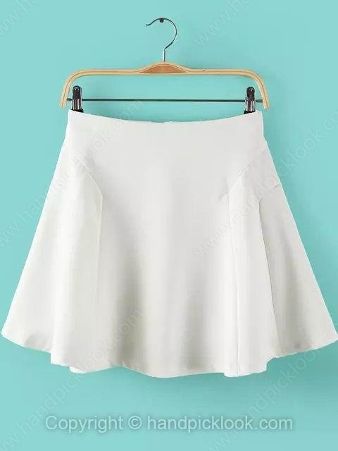 White Zipper Fly Pleated Skirt - HandpickLook.com