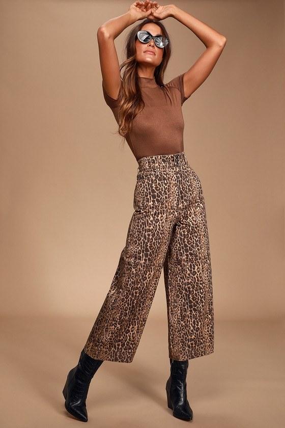 Reiterate Brown Leopard Print Wide-Leg Jeans