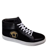 shoes,versace matte leather high-top sneakers