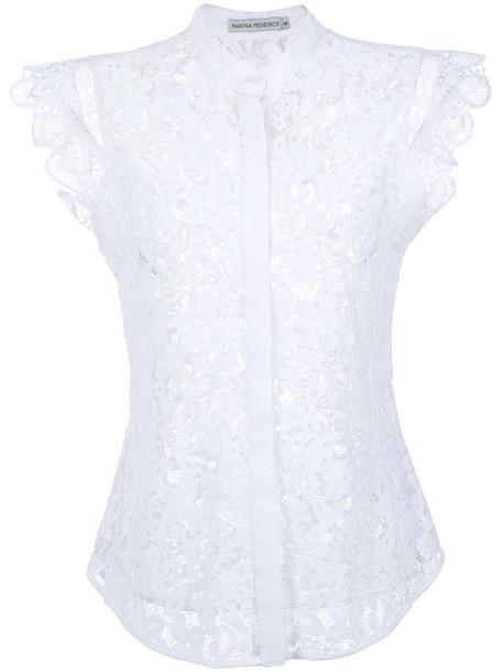 MARTHA MEDEIROS blouse women lace white cotton silk top