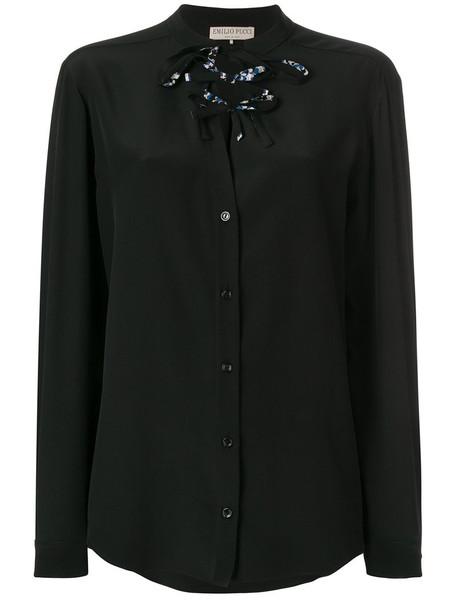 Emilio Pucci blouse women lace black silk top