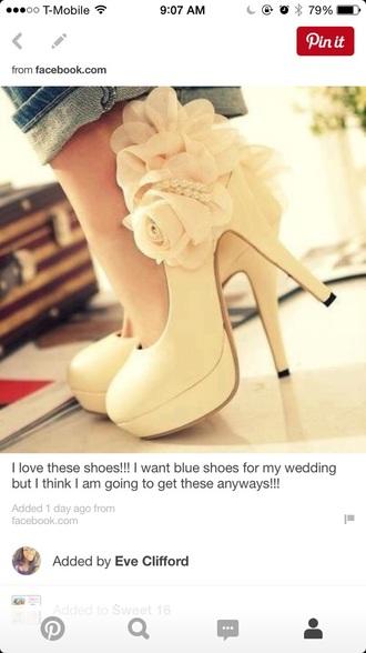 shoes flowers white high heels beige high heels