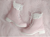 shoes,pastel pink,light pink,angel wings,winged boots,pink boots,pastel pink boots,pale pink boots,pink leather boots,wings,pink,leather,boots,pink leather,leather boots