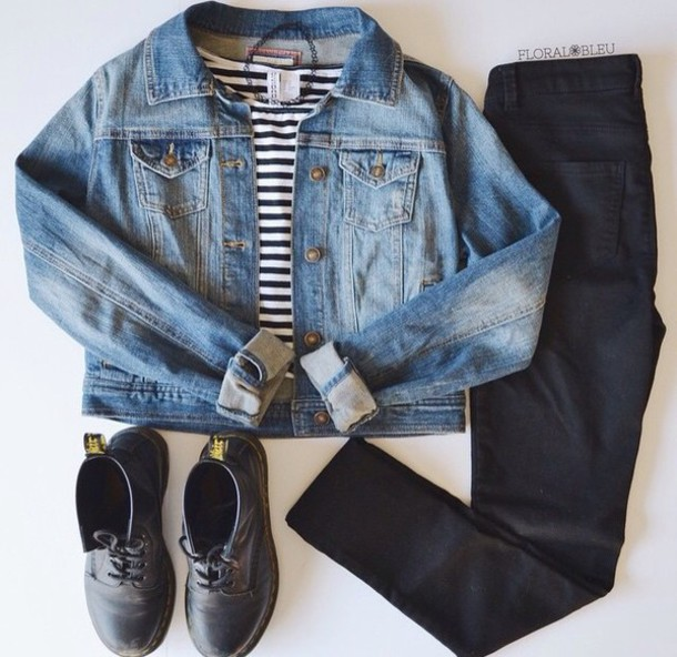 shirt striped shirt denim jacket jeans jacket ripped jeans grunge t-shirt grunge