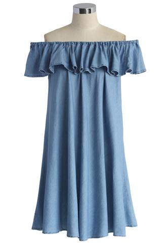 dress frilling off-shoulder denim dress chicwish off-shoulder dress denim dress chicwish.com