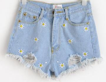 Daisy hole fringed slim denim short..