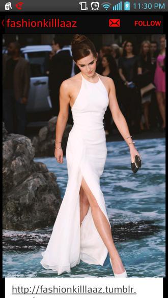 dress emma watson white dress white side split maxi dress