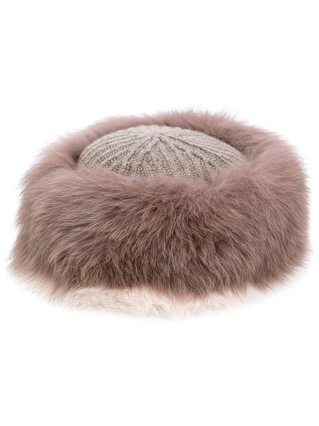 Agnona fur fox women hat brown