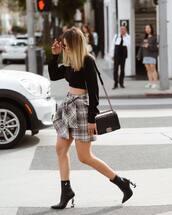 shoes,ankle boots,saint laurent,black boots,plaid skirt,black crop top,black bag