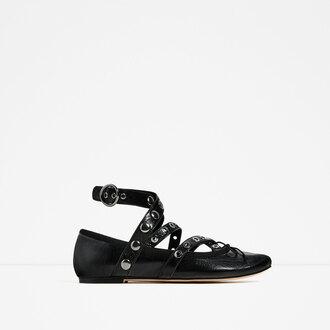 shoes studded shoes ballet flats zara flats fall accessories