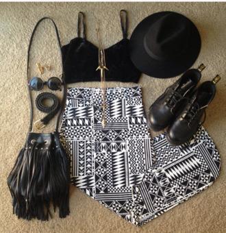 skirt black and white aztec print skirt