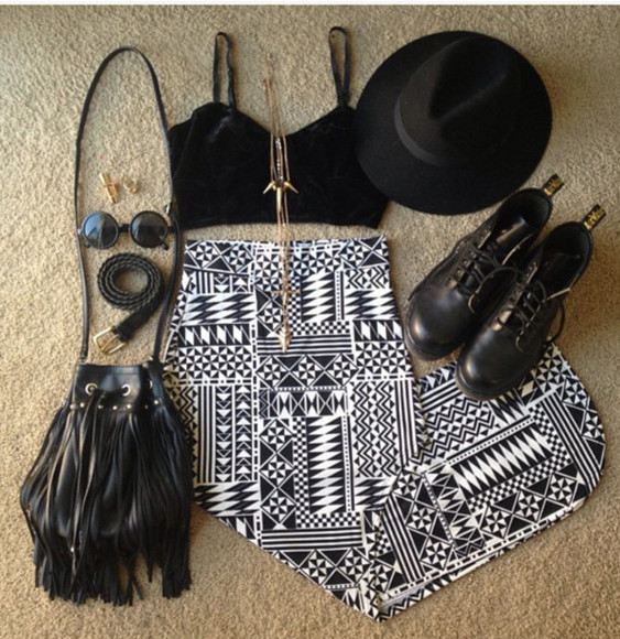 skirt aztec print skirt black and white