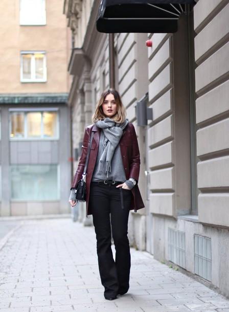 moderosa blogger scarf coat jeans shoes bag