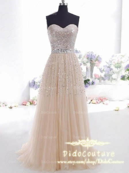 Custom Made Beaded Champagne Prom DressSweetheart by DidoCouture