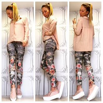 shoes pink pastel pink khaki pants floral blouse camouflage pastel