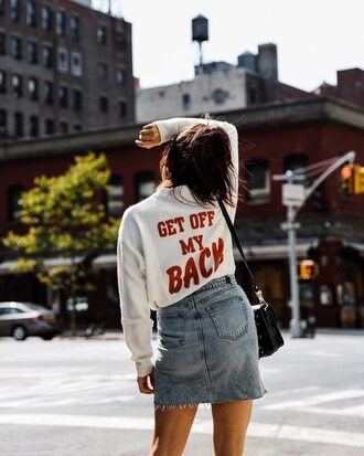 sweater tumblr knitwear knit white sweater quote on it denim denim skirt mini skirt