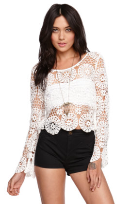 Kendall and Kylie Long Sleeve Crochet Top at PacSun.com