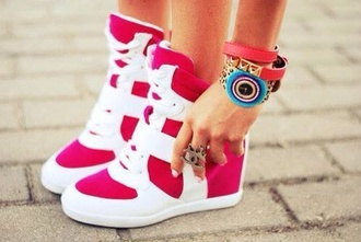 shoes high top sneakers high top pink gym white girly girl cute heels heel bright sneakers hot pink