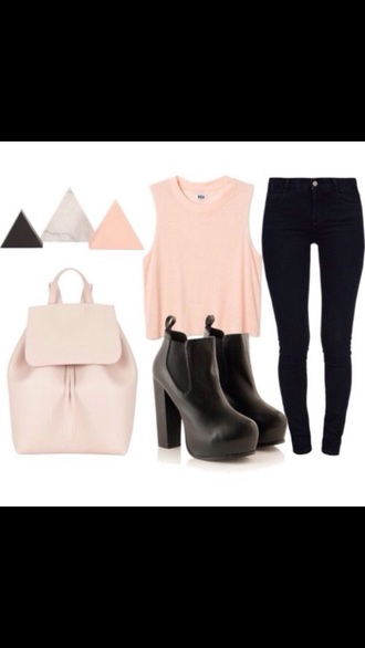 jewels earrings top bag pink crop tops blouse heels boots jeans