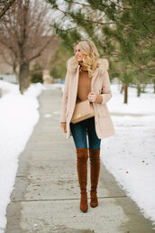 ivory lane,blogger,coat,sweater,jeans,shoes,bag,nude coat,winter outfits,boots,thigh high boots,suede boots,turtleneck sweater,over the knee boots,nude bag