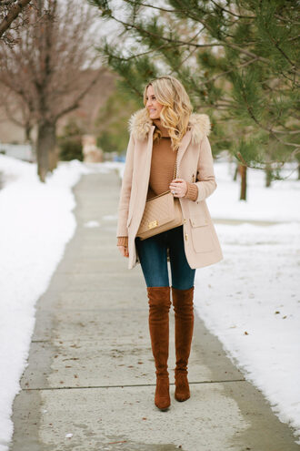 ivory lane blogger coat sweater jeans shoes bag nude coat winter outfits boots thigh high boots suede boots turtleneck sweater over the knee boots nude bag