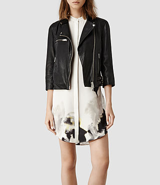 Womens Turne Leather Biker Jacket (Black) | ALLSAINTS.com