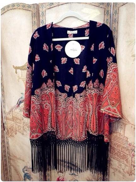 kimono sweater paisley floral kimono fringes fringe kimono boho black fashion pink orange summer outfits spring