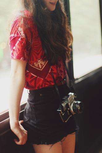 shirt dark red muster dreieck aztek print