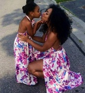 dress,purple dress,white dress,floral dress,purple and white,backless dress,slit dress,matching set,backless white dress,backless purple bridesmaid dresses,maxi dress,long dress,white long dress,purple long dress,floral shirt,high heels,mother daughter,mother and child