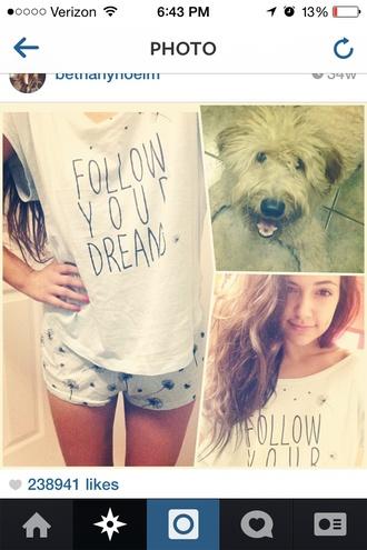 t-shirt pajamas shorts bethany mota instagram forever 21