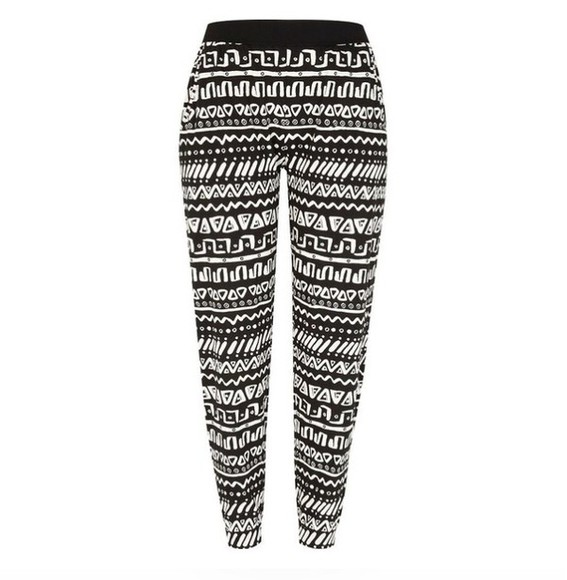 printed pants black and white joggers