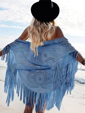 cardigan girl girly girly wishlist cute beach fringes blue