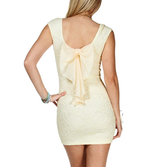 dress lace mini ivory bow back rose textured windsor cream