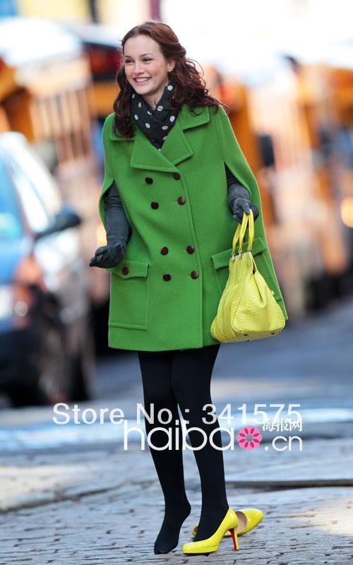 Free shipping beautiful girl gossip girl with big money green sleeveless cloak woolen coat , women's double breasted coat