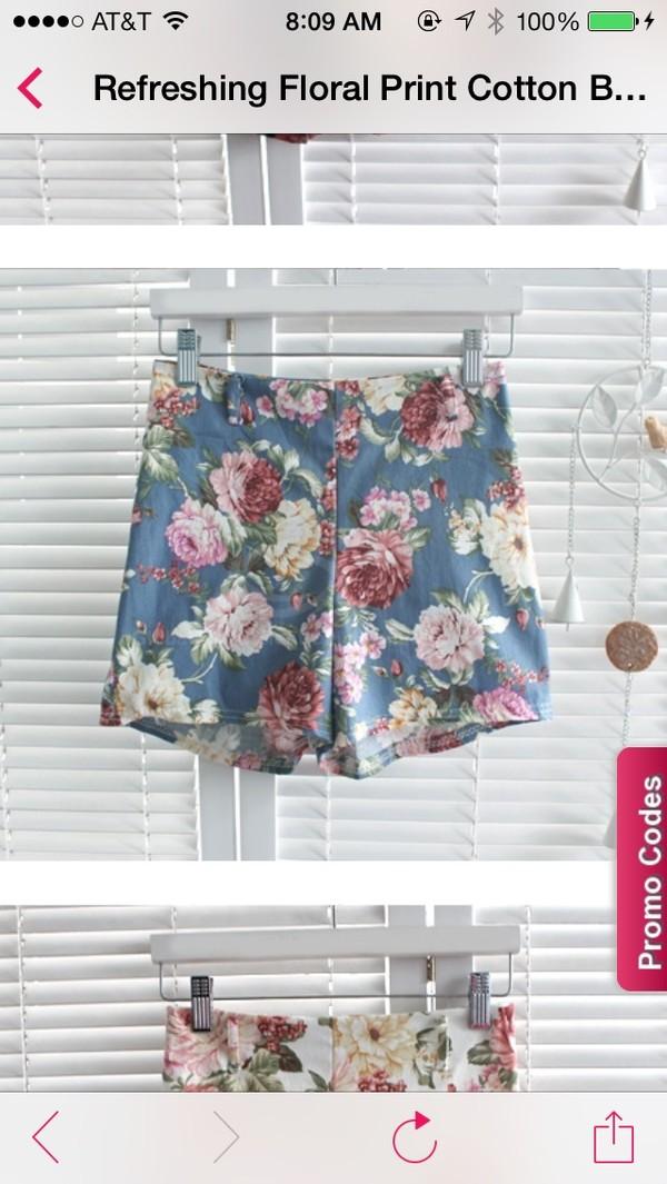 shorts floral retro