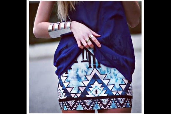 blonde girl skirt striped skirt shorts tribal pattern patterned skirt summer dress blue skirt white skirt blonde bracelets ring aztec aztec skirt