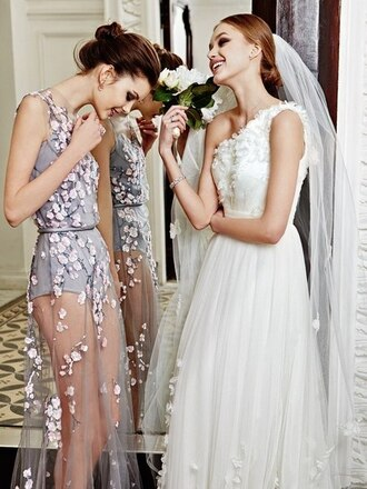 dress sheer flowers lilac dress romper lilac prom dress cherry blossom grey dress bridesmaid wedding
