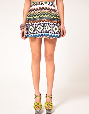 Asos skater skirt in aztec print at asos