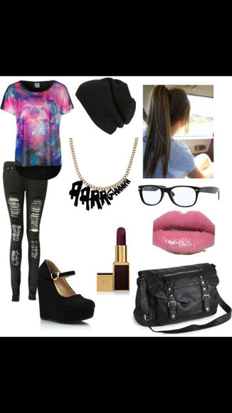 pirate bag aztec galaxy black beanie ripped jeans nerd glasses black heals sunglasses jeans