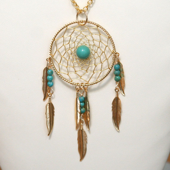 Dream Catcher Turquoise & Gold Dreamcatcher Necklace by BBJdesign