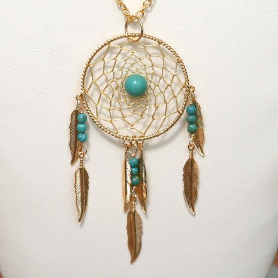 Dream Catcher Turquoise & Gold Dreamcatcher Necklace by BBJdesign