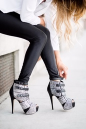 shoes,heels,pumps,ankle boots,booties\,fashion,boho,trendy,black and white,black,white,straps,zip,kate ferguson,onlineshop,leather,pony hair boots,fall outfits,winter outfits,leggings,high heels