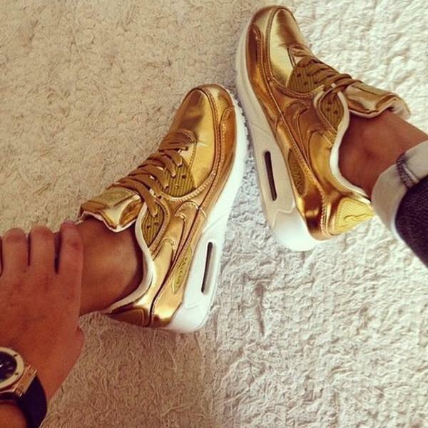 womens nike air huarache white gold