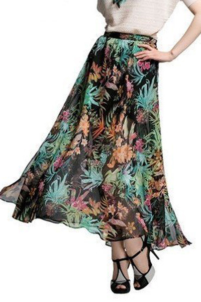 Multi Color Floral Print Maxi Chiffon Skirt