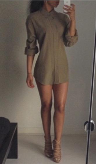 dress khaki shirt dress style