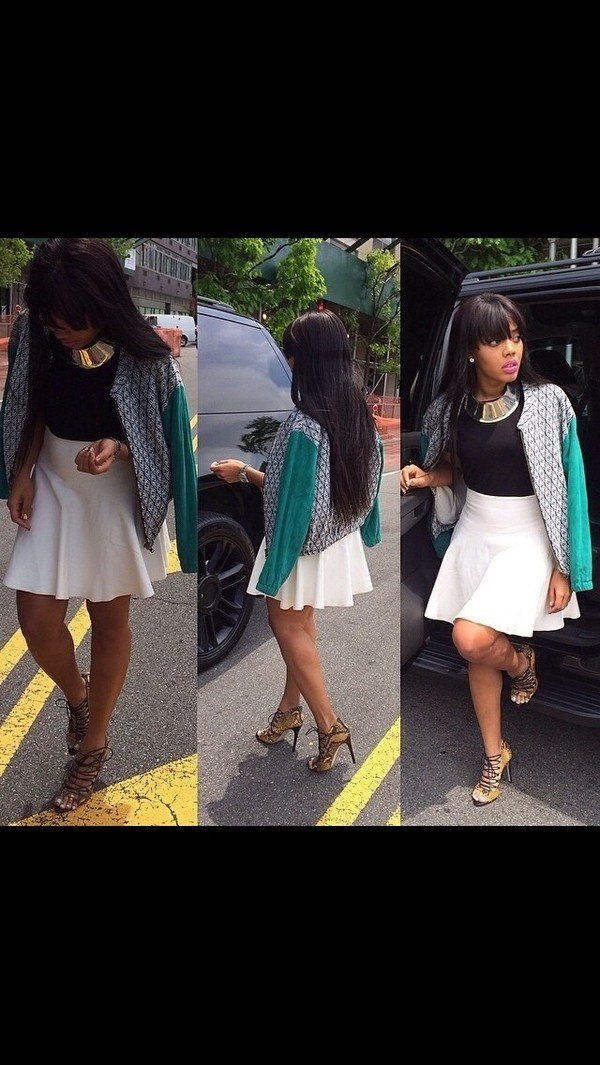 jacket Angela Simmons jewels skirt shoes